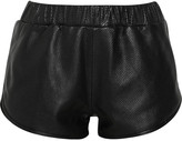 Perforated leather shorts
