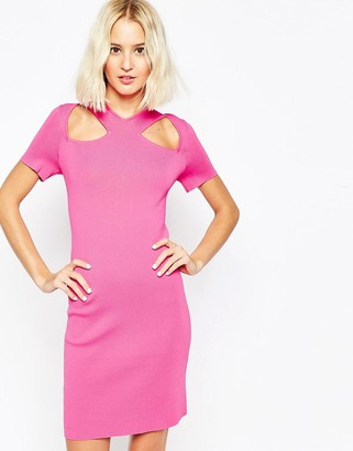 Asos Dress with Cut Out Detail And Zip Back In Structured Knit