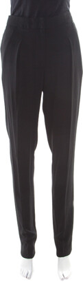 Vionnet Black Crepe Pleated High Waist Tailored Trousers L