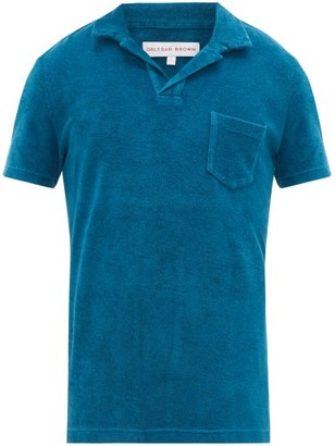 Orlebar Brown Terry Cotton-towelling Polo Shirt - Mens - Blue