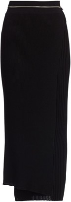 Helmut Lang Layered Wool Midi Skirt