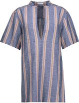 A.L.C. Curt striped linen-blend top