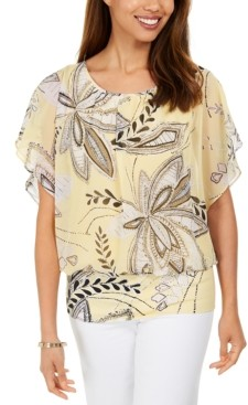 JM Collection Printed Banded-Hem Flutter-Sleeve Top, Created for Macy's