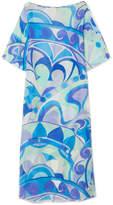 Emilio Pucci Nigeria Printed Cotton And Silk-blend Voile Maxi Dress - Azure