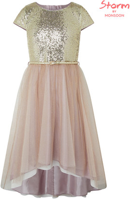 Under Armour Kylie Gold Sparkle Tiered Prom Dress Gold