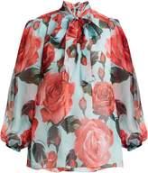 Dolce & Gabbana Floral-print tie-neck silk blouse