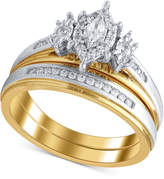 Macy's Diamond Two-Tone Bridal Set (1/3 ct. t.w.) in 14k Gold & White Gold