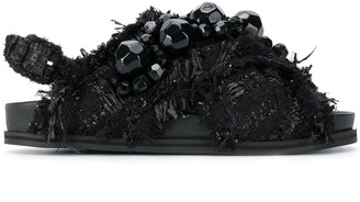 Simone Rocha Bead-Detail Textured Sandals