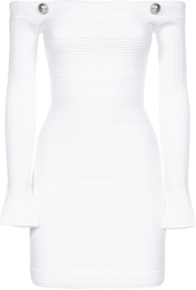 Balmain Off The Shoulder Knitted Dress