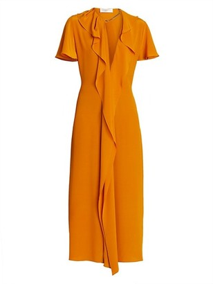 Victoria Beckham Ruffle Chain Silk Midi Dress