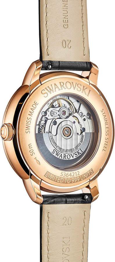 Swarovski Atlantis Limited Edition Automatic Men's Watch, Leather strap, Black, Rose gold tone
