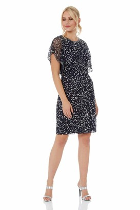 Roman Originals Women's Sequin Embellished Angel Sleeve Dress - Ladies Glitter Sparkly Bodycon Knee Length Smart Special Occasion Formal Cocktail Party Dance Evening Wear - Midnight Blue - Size 10