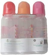 Disney Minnie Mouse Themed 9 Oz. Clear Bottles with Asst. color Caps, 3pk by