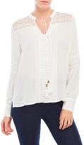 XOXO Lace Inset Pintuck Blouse
