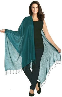World of Shawls Luxurious Kashmiri 80% Wool 20% Silk Pashmina Shawl Wrap Scarf (Peacock Green)