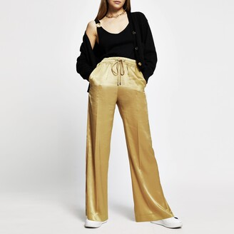 River Island Womens Gold high waist wide leg trousers