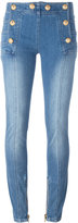 Balmain button skinny jeans - women - Cotton/Spandex/Elastane - 38