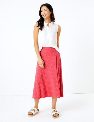 Marks and Spencer Jersey Polka Dot Midi Fit & Flare Skirt