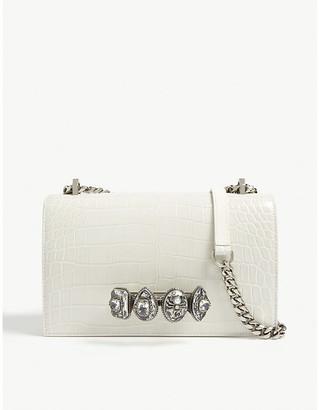 Alexander McQueen Spider ring croc-embossed leather clutch