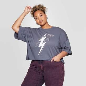 Grayson Threads Women's World Tour Plus Size Short Sleeve Cropped T-Shirt Juniors') - Dark Gray