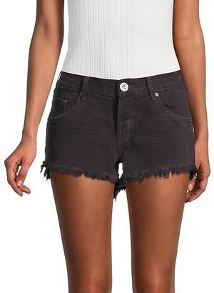 One Teaspoon Bonitas Low-Rise Fringe Hem Denim Shorts
