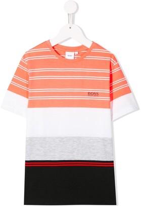 Boss Kids crew neck striped T-shirt