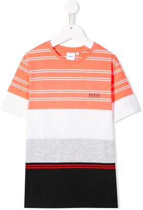 Boss Kidswear crew neck striped T-shirt
