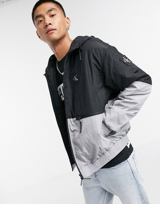 Calvin Klein Jeans metallic colourblock jacket in silver