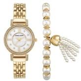 Anne Klein Women's Crystal Watch & Tassel Bracelet Set