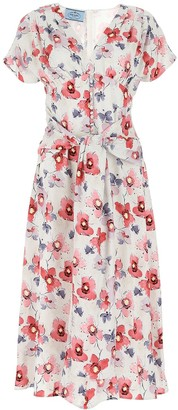 Prada V-Neck Floral Print Dress
