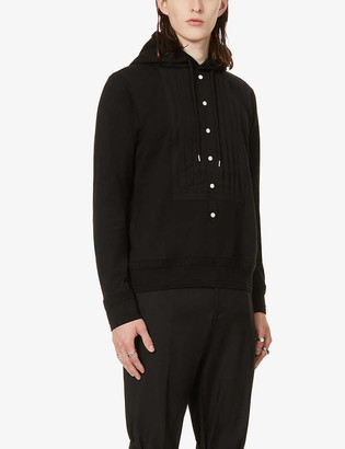 The Soloist Pleated-panel cotton and silk-blend hoody
