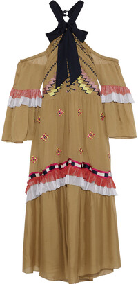 Temperley London Traveller Cold-shoulder Ruffled Embroidered Crepe Midi Dress