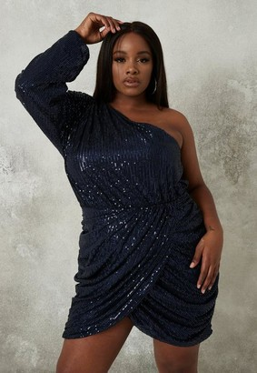 Missguided Plus Size Navy Sequin One Shoulder Ruched Mini Dress