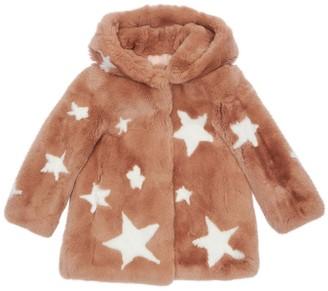 Yves Salomon Enfant Star Print Fur Coat