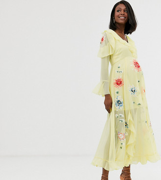 Asos DESIGN Maternity embroidered wrap maxi dress