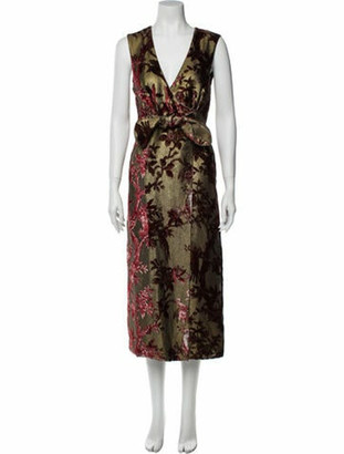 F.R.S For Restless Sleepers Floral Print Long Dress w/ Tags Gold Floral Print Long Dress w/ Tags