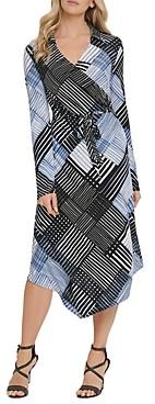 DKNY Faux Wrap Shirt Dress