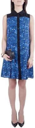 Proenza Schouler Blue and Black Micro Printed Silk Georgette Flared Dress S