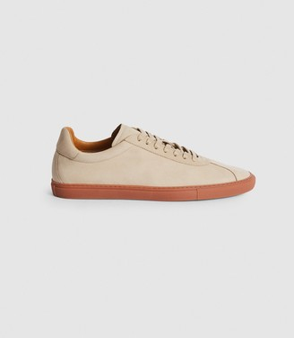 Reiss GLOVE LEATHER CONTRAST SOLE TRAINERS Ecru