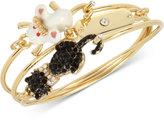 Betsey Johnson Gold-Tone 3-Pc. Set Cat and Mouse Wire Bangle Bracelets