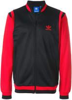 adidas zipped logo bomber jacket