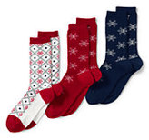 Lands' End Women's Seamless Toe Pattern Crew Socks (3-pack)-Indigo