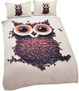 Sleepwish Owl Bedding Cute Coffee Bean Owl Quilt Set Bird Comforter Set Kids Double Bed Set
