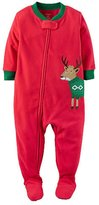 "Carter's Little Boys' 1-Piece Footed Fleece ""Ugly Sweater Reindeer"" Pajamas"
