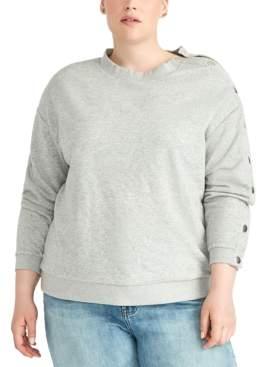 Rachel Roy Trendy Plus Size Snap-Sleeve Sweatshirt
