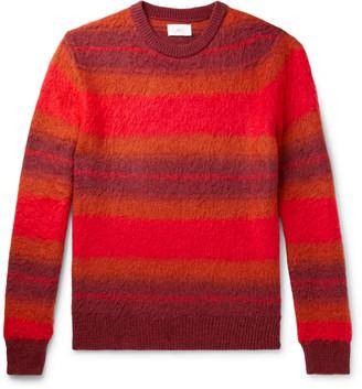 Mr P. Striped Brushed-Knit Sweater - Men - Orange
