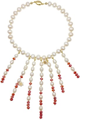 Farra Freshwater Pearls With Red Crystal Statement Necklace