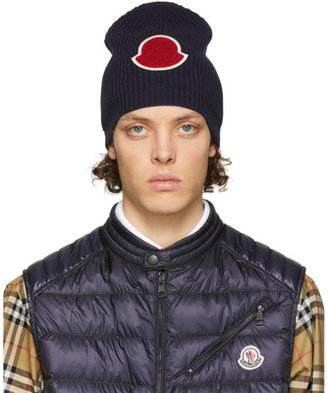 Moncler Navy Knit Beanie