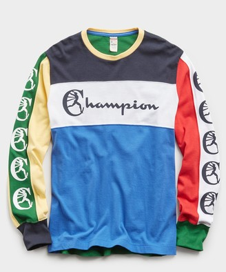 Todd Snyder + Champion Color Block Graphic Long Sleeve Tee in Light Blue