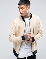 Asos Jersey Bomber Jacket With Zip Pocket & Contrast Ribs